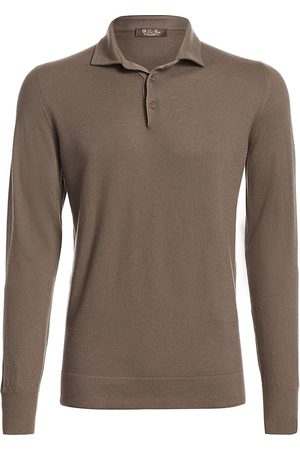 Loro Piana Men Polo Shirts - Men's Long-Sleeve Cashmere Polo - - Size 48