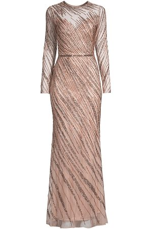 Mac Duggal Women's Sequin Long-Sleeve Gown - Mocha - Size 6