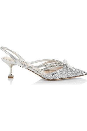 Miu Miu Women's Jeweled Slingback Glitter Pumps - - Size 8.5