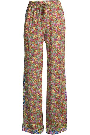 M Missoni Women Wide Leg Pants - Women's Patchwork Wide-Leg Trousers - Patchwork Stamp - Size 10