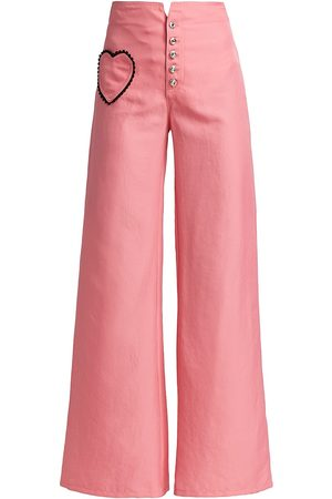 RODARTE Women's Flared Twill Pant With Lace Heart Pocket - - Size 0