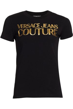 VERSACE Women Sports T-shirts - Women's Metallic Logo T-Shirt - - Size Medium