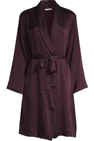 SKIN Women's Tina Silk-Satin Robe - Raisin - Size Medium