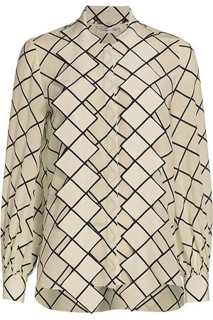 Oscar de la Renta Women's Tie-Neck Grid-Print Crepe de Chine Blouse - Ivory - Size 12