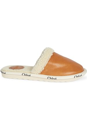 Chloé Women Flat Shoes - Women's Woody Shearling-Lined Leather Slippers - Luminous - Size 6
