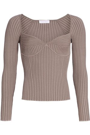 JONATHAN SIMKHAI Women Long Sleeve - Women's Sammy Traveling Rib Bustier Long-Sleeve T-Shirt - Fawn - Size XS