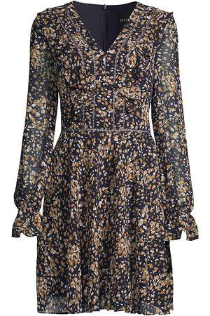 Shani Women's Floral Mini Dress - Navy - Size 16