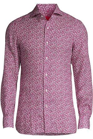 ISAIA Men Tops - Men's Fish-Print Linen Sport Shirt - - Size 17