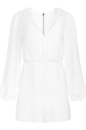 ALICE+OLIVIA Women's Sinclair Puff-Sleeve V-Neck Romper - Off - Size 8