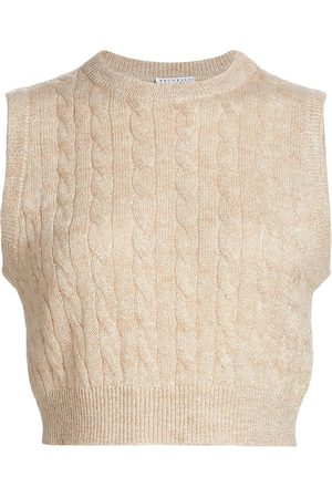 Brunello Cucinelli Women Gilets - Women's Cable-Knit Sweater Vest - Seashell Laminato - Size XL