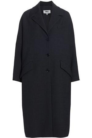 MM6 MAISON MARGIELA Women Coats - Women's Oversized Dolman Sleeve Coat - Grey Melange - Size 2