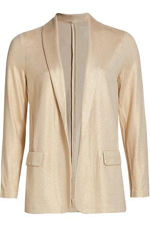 Majestic Women Jackets - Women's Metallic Open Shawl Collar Jacket - Golden Sand - Size Small