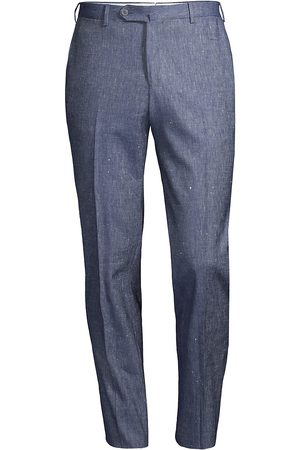 ISAIA Men Stretch Pants - Men's Linen & Cotton Stretch Trousers - Medium - Size 44