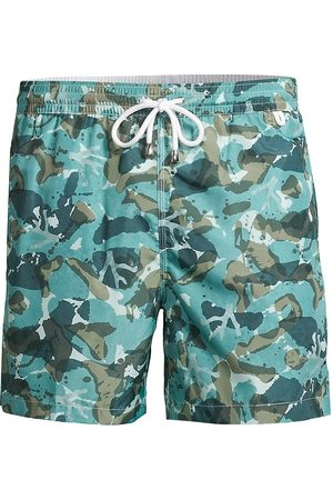 ISAIA Men Swim Shorts - Men's Camo-Print Swim Trunks - Teal - Size XL