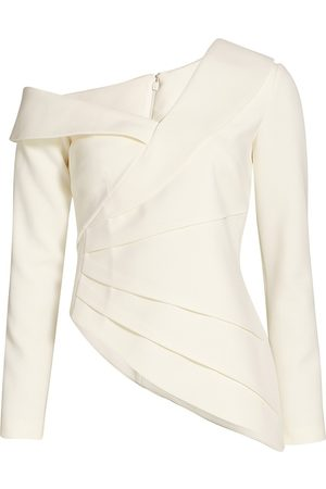 Safiyaa Women's Katherine Off-The-Shoulder Long Sleeve Top - Ivory - Size 8