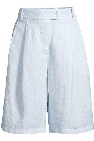 120% Lino Women Shorts - 120% Lino Women's Pinstriped Pleated Linen Shorts - Cloud Fade Pinstripe - Size Medium