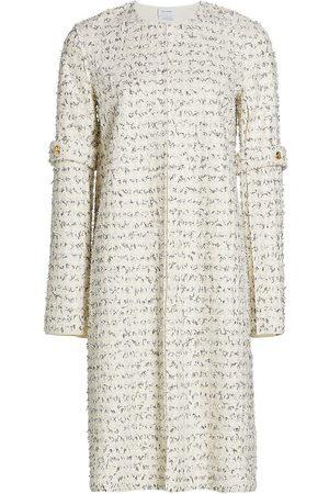 ST. JOHN Women Coats - Women's Bouclé Eyelash Slit-Sleeve Knit Coat - Ecru Multi - Size Large