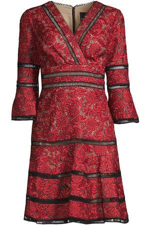 Shani Women Printed Dresses - Women's Floral Jacquard Lace Eyelet Trim A-Line Dress - - Size 16