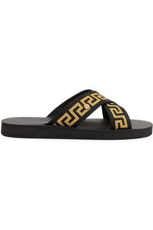 VERSACE Men Sandals - Men's Greca Crisscross Sandals - - Size 6
