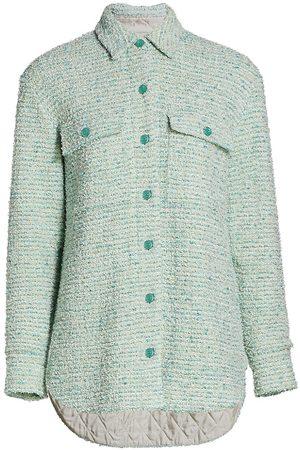 ST. JOHN Women's Eyelash Slub Tweed Knit Collar Jacket - Aqua Multi - Size XS