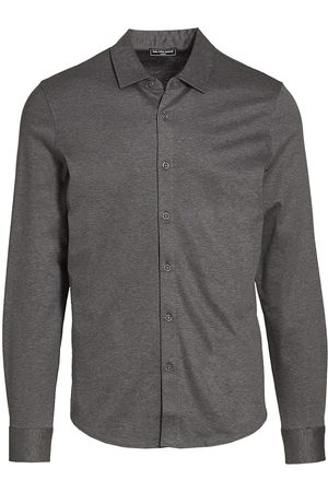 Saks Fifth Avenue Men's COLLECTION Long-Sleeve Sport Shirt - Charcoal - Size XXL
