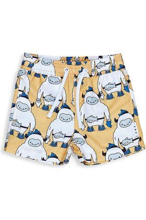 Huxbaby Boys Swim Shorts - Baby Boy's & Little Boy's Staycation Yeti Swim Shorts - Mustard - Size 6 Months