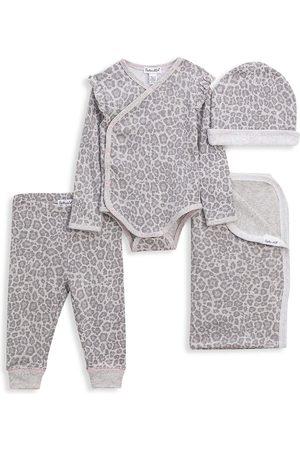 Splendid Baby Printed Dresses - Baby's Four-Piece Leopard-Print Set - Grey - Size 3 Months