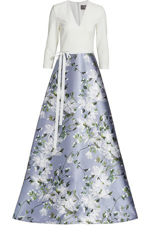 THEIA Women's Floral Contrast Crepe Gown - Tissue Paper Floral - Size 4
