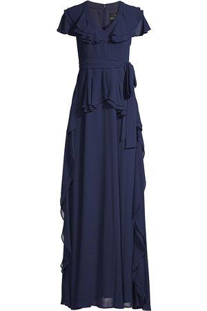 Shani Women Maxi Dresses - Women's Ruffle Trim Maxi Dress - Navy - Size 12