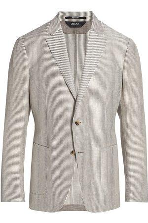 Z Zegna Men's Striped Wool-Linen Sportcoat - Natstrap - Size 48