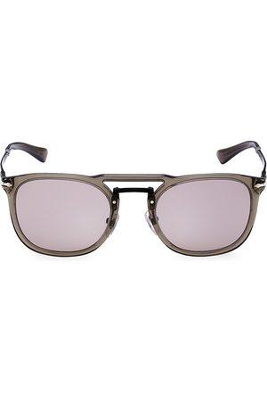 Persol Men Round - Men's 50MM Round Sunglasses - Grey Transparent