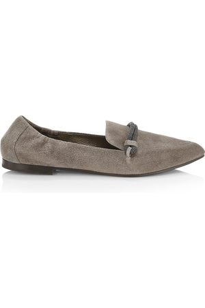 Brunello Cucinelli Women Loafers - Women's Monili-Strap Suede Loafers - Ossido - Size 9.5
