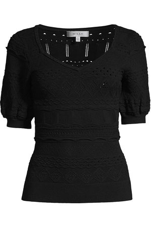 Milly Women's Short-Sleeve Pointelle Knit Top - - Size Large