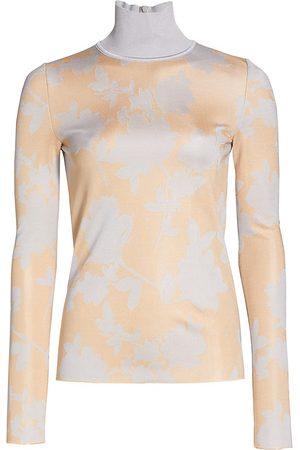 ST. JOHN Women's Floral Birdseye Jacquard Knit Turtleneck Sweater - Peach Multi - Size XS