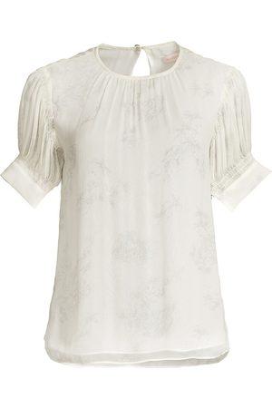 REBECCA TAYLOR Women Blouses - Women's Puff-Sleeve Silk Toile Blouse - Chantilly Combo - Size XS