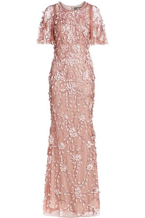 THEIA Women's Beaded Floral Gown - Blush - Size 14