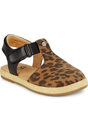 UGG Girls Sandals - Little Girl's and Girl's Emmery Leopard Sandals - Tan - Size 6 (Child)