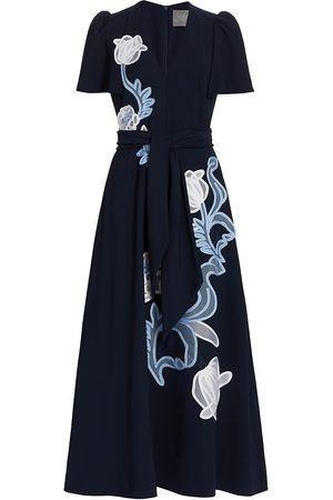 LELA ROSE Women Printed Dresses - Women's Floral Embroidered Fluid Crepe Flutter Sleeve Midi Dress - Navy - Size 8