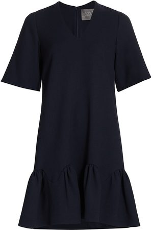 LELA ROSE Women Tunic Dresses - Women's Wool Crepe Flounce Hem Tunic Dress - Navy - Size 12