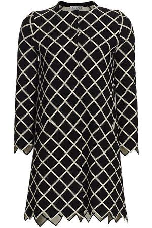 Oscar de la Renta Women Jackets - Women's Grid-Print Knit Jacket - - Size Small