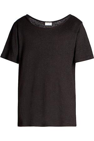 Saint Laurent Men's Basic Linen T-Shirt - Noir - Size Medium