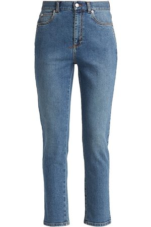 Alexander McQueen Men's High-Rise Fitted Stretch Jeans - Indigo Washed - Size 32