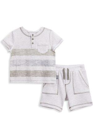Splendid Baby Boy's 2-Piece Stripe T-Shirt & Shorts Set - Grey - Size 12 Months