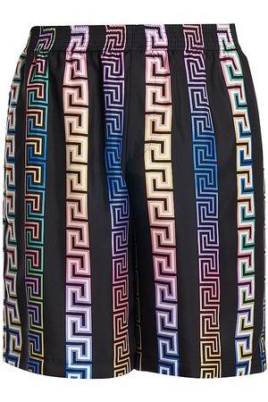VERSACE Men's Logo Silk Twill Shorts - Multi - Size 38