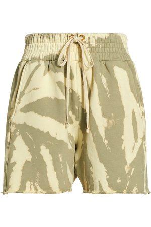 Les Tien Women's Yacht Cotton Shorts - Sage Butter Tie Dye - Size Large
