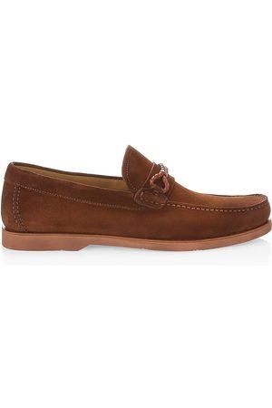 Saks Fifth Avenue Men Loafers - Men's COLLECTION Suede Boat Shoes - Cognac - Size 12