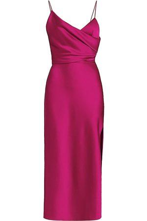 Rasario Women's Asymmetric Draped Satin Midi Dress - Malibu Barbie - Size 6
