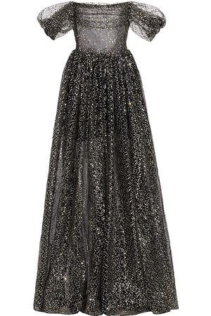 Rasario Women's Off-the-Shoulder Draped Sequined Tulle Gown - - Size 6