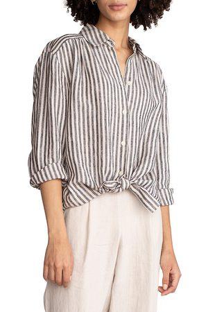 Trina Turk Women's Unwind Stripe Linen Shirt - Size Large