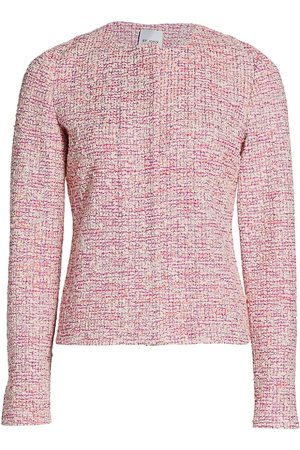 ST. JOHN Women Jackets - Women's Boucle Slub Tweed Knit Jacket - Cerise Multi - Size 16